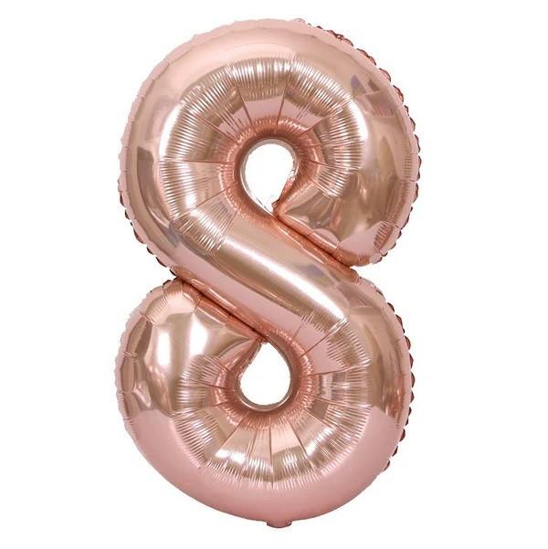 Фольгированная цифра 8, розовое золото,  1м