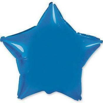 Фольгована Гелева Кулька Однотона Зірка Металік Синій Flexmetal 18 (46 см)