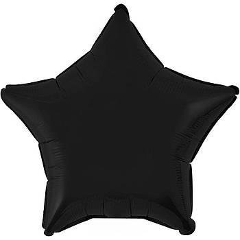 Фольгована Гелева Кулька Однотона Зірка Металік Чорна Flexmetal 18 (46 см)