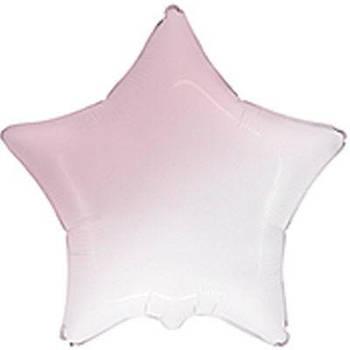 Фольгована Гелева Кулька Зірка Омбре Біло-Рожева baby pink Flexmetal 18 (46 см)