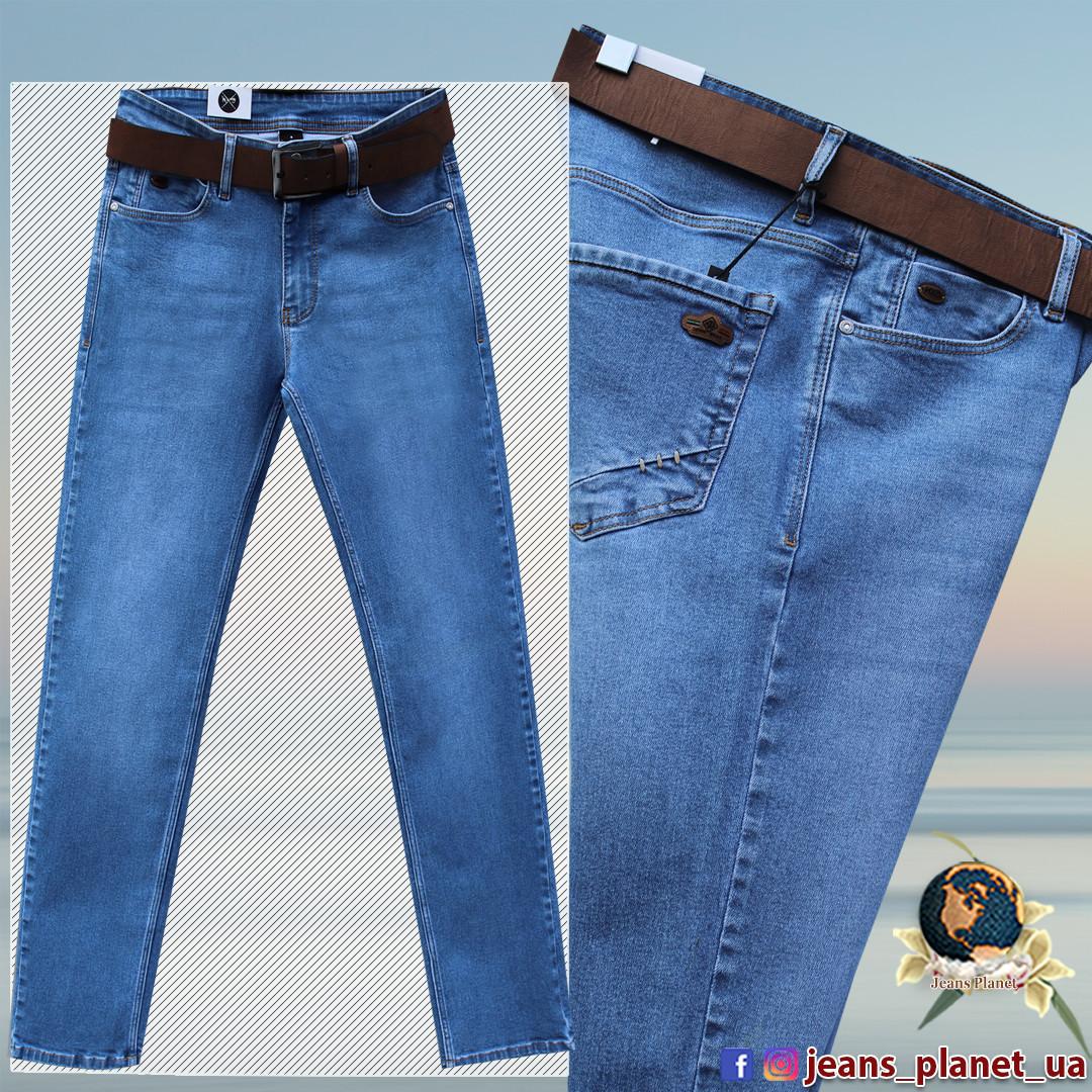 Фирменные мужские классические джинсы HSD голубого цвета с ремнём