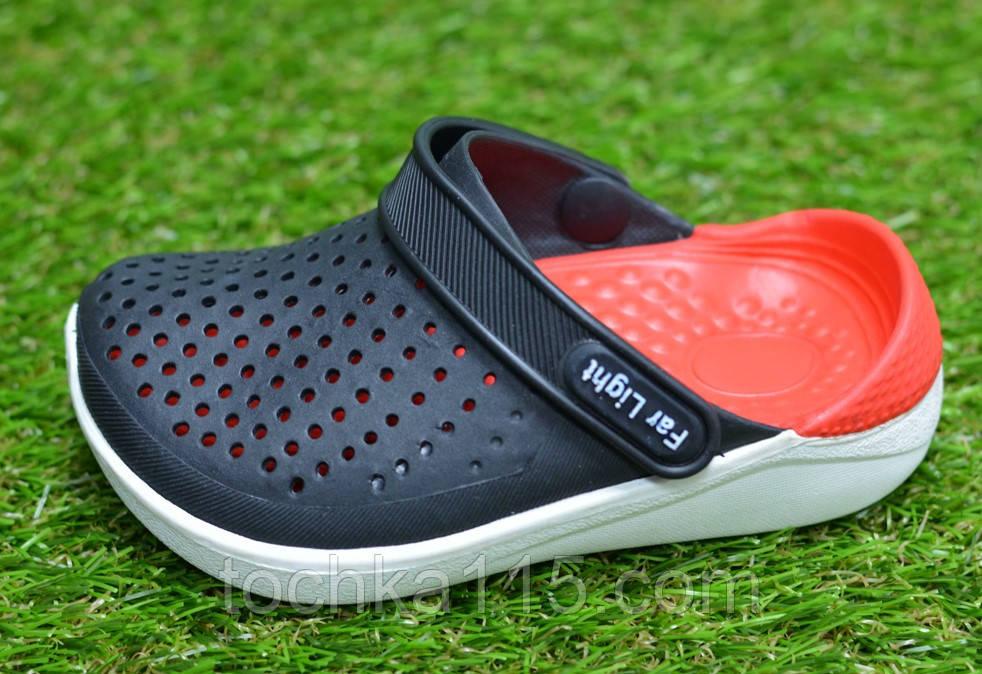 Детские шлепанцы кроксы сабо crocs rad black черные красные р24-29