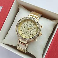 Жіночі наручні годинники Michael Kors золотистого кольору, хронографи, два ряди каменів, дата - код 1919, фото 1