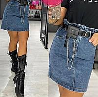 Юбка джинсовая мини пояс с кошельком в комплекте, фото 1