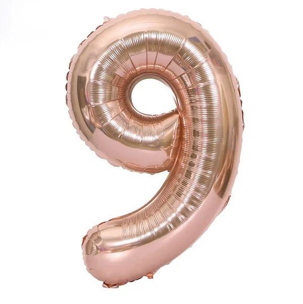 Фольгована цифра 9, рожеве золото, 1м