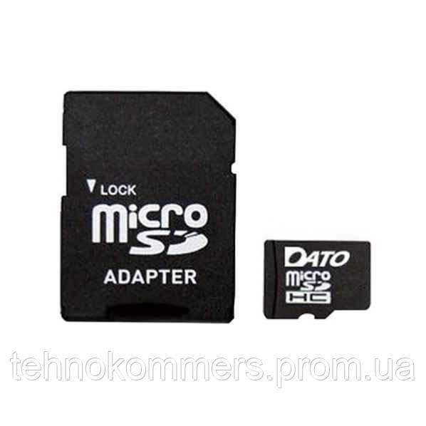 Карта пам'яті DATO microSDHC 4GB Class 4 +SD адаптер, фото 2
