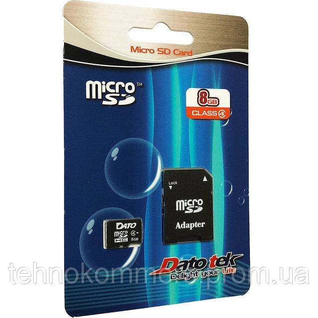 Карта пам'яті DATO microSDHC 8GB Class 4 +SD-адаптер, фото 2
