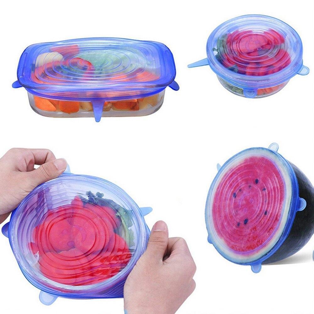 Набор многоразовых крышек 6 штук | силиконовые крышки круглые super stretch silicone lids