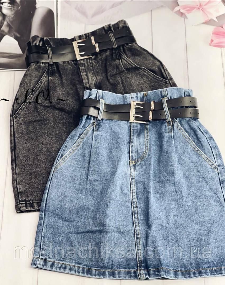 Юбка джинсовая мини с поясом
