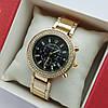 Женские наручные часы Michael Kors золото с черным циферблатом, хронографы, два ряда камней, дата - код 1921
