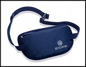 Чоловіча спортивна сумка бананка водонепроника!Темно-синій Бренд BETLEWSKI Польша чорна захист RFID