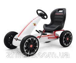 Детский педальный автомобиль Картинг Веломобиль Abarth Белый