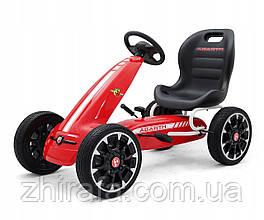 Детский педальный автомобиль Картинг Веломобиль Abarth Красный