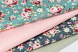 """Набір сатинових тканин 40*40 см з 4-х шт """"Трояндочки на зеленому і дрібний горошок"""" №210, фото 2"""