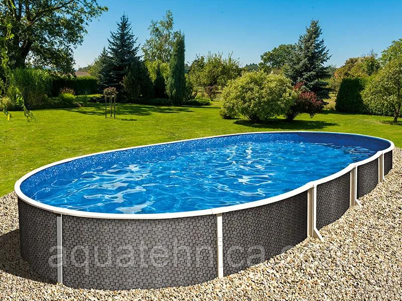 Каркасный бассейн овальный морозоустойчивый Azuro Rattan 404DL 5,5  х 3,7 х 1,2 м