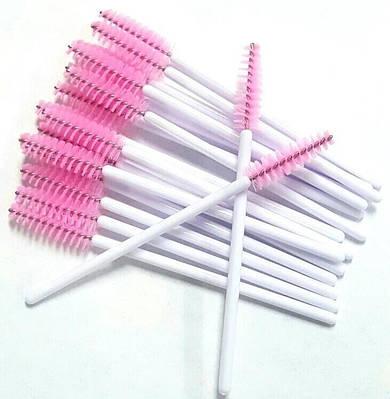 Щеточка для бровей и ресниц прямая Белый+розовый