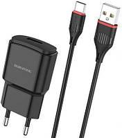 Мережевий зарядний пристрій Borofone BA48A Orion + USB Type-C Cable Black, фото 1