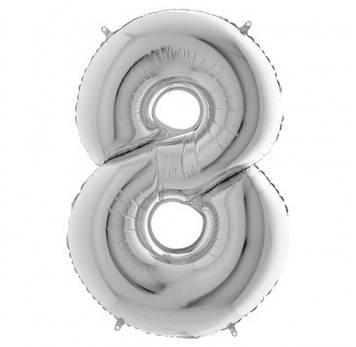 """Кулька повітр. """"Цифра-8"""" 50см. срібло фольга №MK1346"""