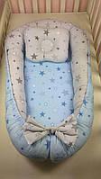 Кокон-гнездышко с подушкой и бортиками для новорожденных Звездочки
