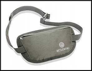 Чоловіча спортивна сумка бананка водонепроника!Сіра Бренд BETLEWSKI Польша  захист RFID