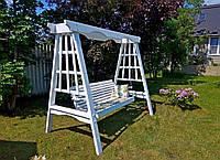 Подвесной диван-качели для сада и дачи деревянные из Лиственницы