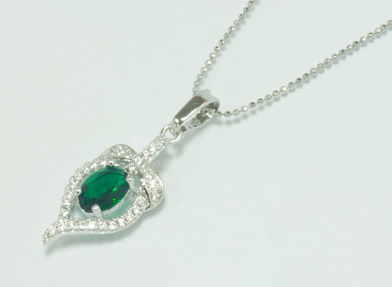 Подвеска Сердце 31мм*11мм, зеленый цирконий