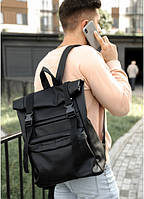 Роллтоп рюкзак кожаный мужской черный, Ролл рюкзак эко-кожа, Городской рюкзак RollTop, Roll Top кожаный