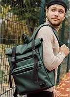 Роллтоп рюкзак городской RollTop зеленый, Рюкзак кожаный мужской городской , рюкзак ролл зеленый эко кожа