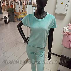 Піжама жіноча трійка футболка+шорти+штани у кольорі м'ята. S. M. L. XL