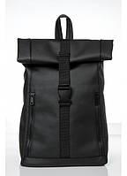 Ролл топ рюкзак черный для города, ролл топ рюкзак кожаный унисекс, RollTop рюкзак унисек, ролл спортивный