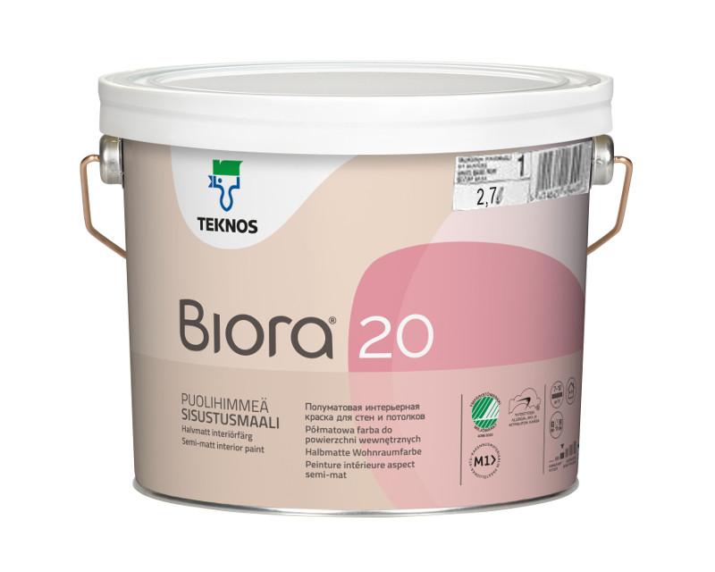Краска акрилатная TEKNOS BIORA 20 интерьерная белая (база 1) 2,7л