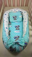 Гнездышко-кокон с подушкой и бортиками для новорожденных Мишка