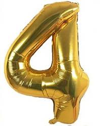 Фольгированная цифра 4, золото, 1м