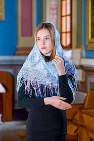 """Церковный ажурный красивый платок женский на голову для храма """"Незабудка"""" голубого цвета"""