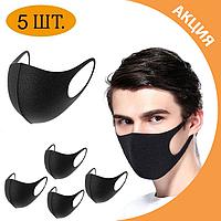 ✨ Многоразовая Защитная маска Питта (PITTA) комплект 5 шт. без клапана черная, используется во всем мире ✨