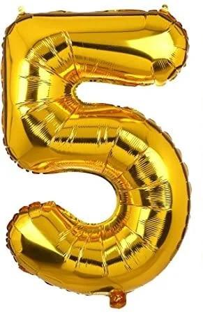 Фольгированная цифра 5, золото, 1м