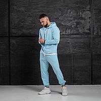 Мужской спортивный костюм Asos oversize 2021 голубой с капюшоном молодежный модный весенний турецкая двунитка