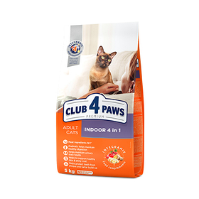 Клуб 4 лапы сухой корм для котов 0,9кг (Club 4 Paws Premium Indoor 4 in 1)