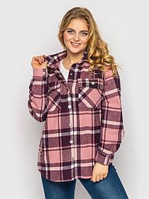 Розовая тёплая рубашка женская из фланели на кнопках, большого размера от 48 до 58
