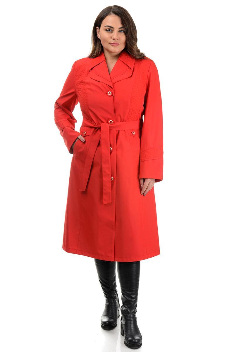 Базовий жіночий довгий плащ з плащової тканини колір яскраво-червоний, великі розміри 50-62