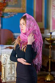 """Церковный ажурный платок женский на голову для похода в храм """"Незабудка"""" розового цвета"""