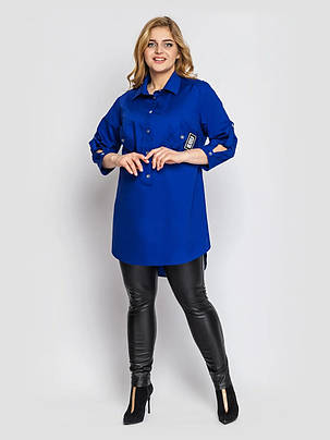 Длинная женская рубашка хлопковая цвет электрик, большие размеры от 48 до 58, фото 2