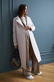 Стильное стеганое пальто длинное молочного цвета для весны осени 42-48