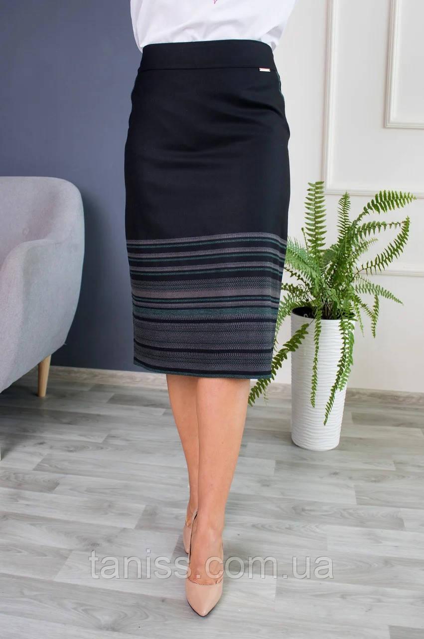 Женская молодежная юбка Оксана, ткань тонкая костюмка, р. 48,50,52,54,56,58,60,62 черная с зелен