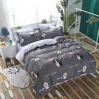 Комплект постельного белья Мопсы  | Полуторный | Бязь Gold Lux