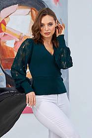 Симпатичный женский джемпер свитер зеленого цвета с ажурными рукавами, размер оверсайз 42-48
