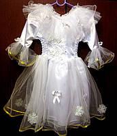 Детское пышное белое платье с окантовкой  на 3-4 года на прокат на утренник