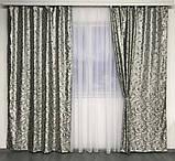 Готовые жаккардовые шторы Шторы с люрексом Жаккардовые шторы Шторы серые  на тесьме, фото 2