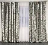 Готовые жаккардовые шторы Шторы с люрексом Жаккардовые шторы Шторы серые  на тесьме, фото 3