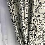 Готовые жаккардовые шторы Шторы с люрексом Жаккардовые шторы Шторы серые  на тесьме, фото 5